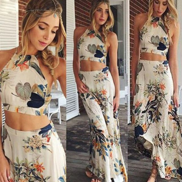 Women fashion sexy crop top and skirt set sleeveless casual new style chiffon women's sets size s~xl high quality summer ALD117