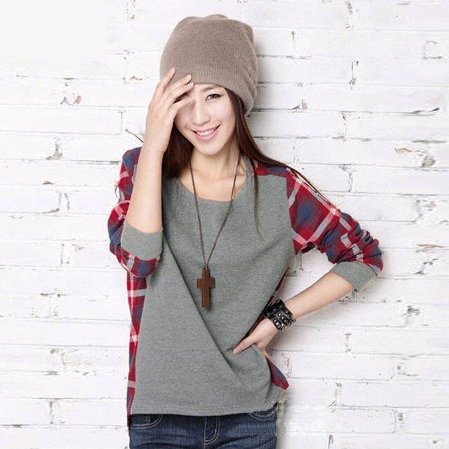 Big size women fashion pullovers long-sleeve plaid pullover girl sweater fashion tops for women S-XXL B16E