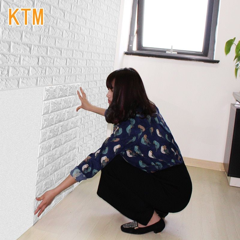 20pcs/pack Self-adhesive Creative Wall Brick Pattern Wallpaper 3d Wall Stickers Living Room Bedroom Decorative 3d Floor Tiles