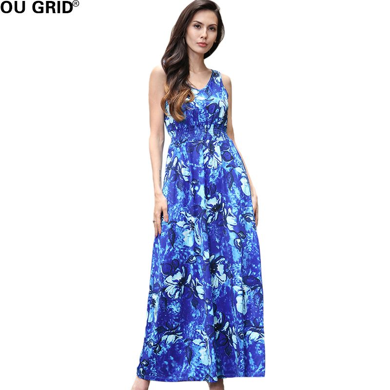 Summer Vintage Floral print Beach Dress Women Blue and Red Flower V-neck Fit and Flare Sleeveless Maxi Sexy Dresses Vestidos