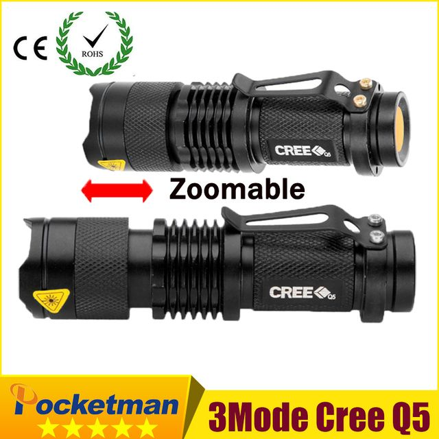 high-quality Mini Black CREE 2000LM Waterproof LED Flashlight 3 Modes Zoomable LED Torch penlight free shipping zk93
