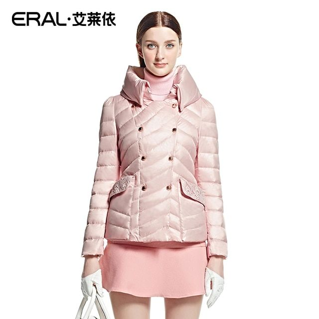 ERAL 2016 Winter Women's Slim Stand Collar Double Breasted Thick Retro Lace Short Down Jacket Coat Plus Size ERAL2020D