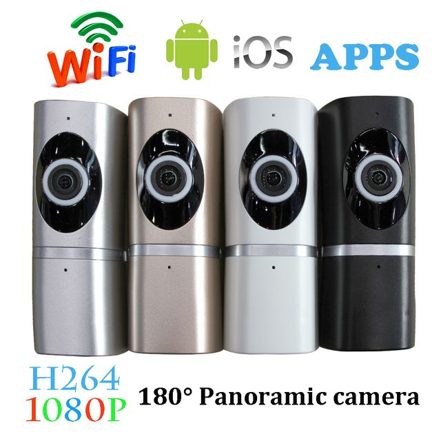 1 PCS 1920*1080 2.0MP IP camera home security surveillance wireless 180 degree Wifi panoramic camera night version fisheye lens