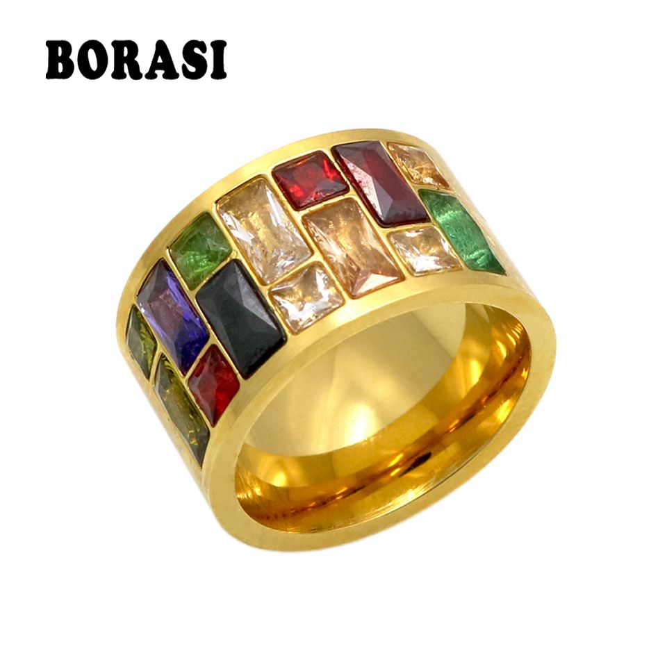 Multicolor Crystal Ring For Women anel 316L Stainless Steel Wedding Rings Female Rainbow Color Stone Ring anillo Fashion Jewelry