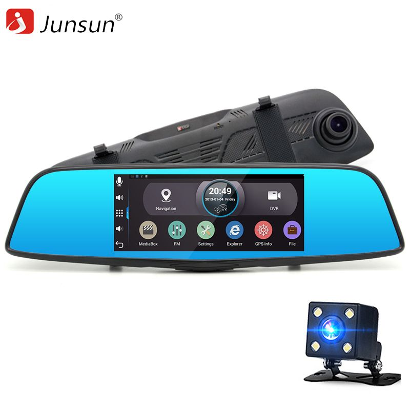 "New 7"" Touch Car DVR Android Rearview mirror camera parking recorder GPS navigation WiFi 16GB Car DVR Video Dual lens Dash cam"