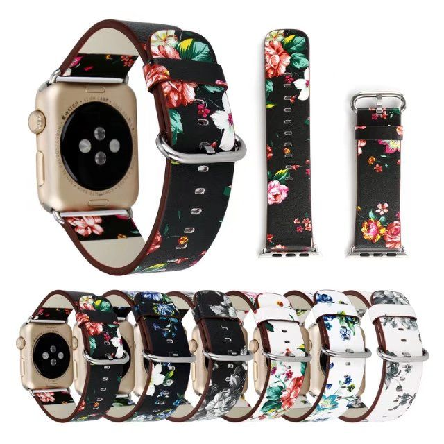 National Floral Printed Leather Watch Band Strap for Apple Watch band Leather Bracelet for iwatch 1&2&3