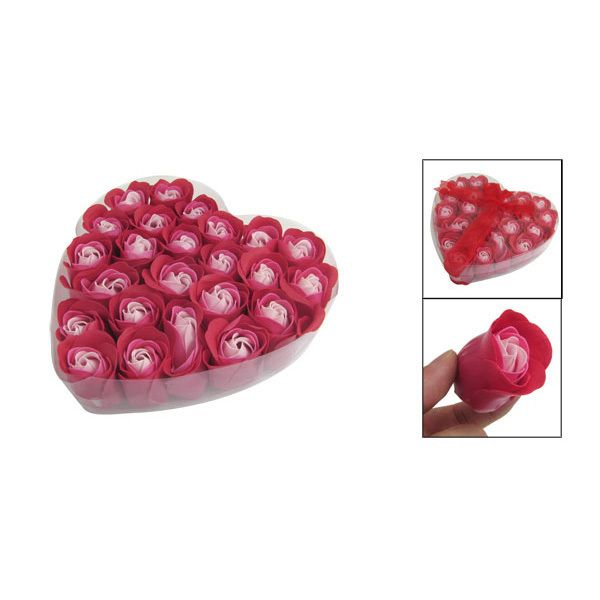 Beauty Hot Sale 24 Pcs Practical Red Scented Bath Soap Rose Flavor Petal in Heart Box