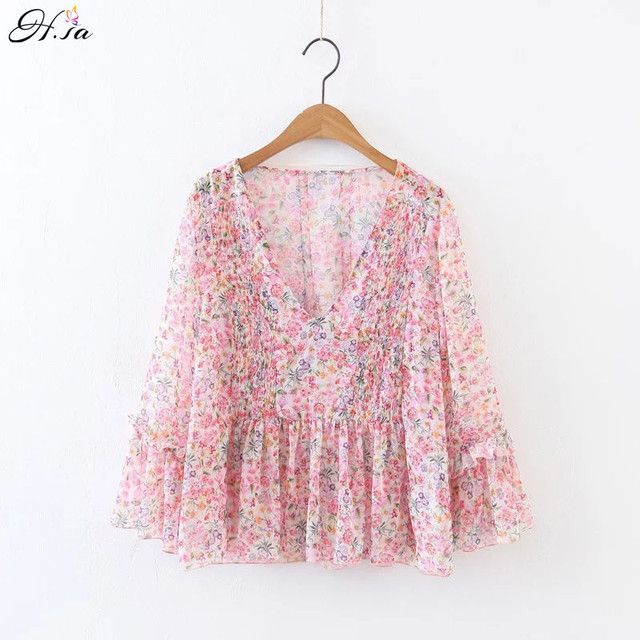 H.SA Women Summrt Kimono Blouses Flowers Printed Ruffles Flare Sleeve Tops Blouse Femme Camisa Transparent Blusa Beach Tops