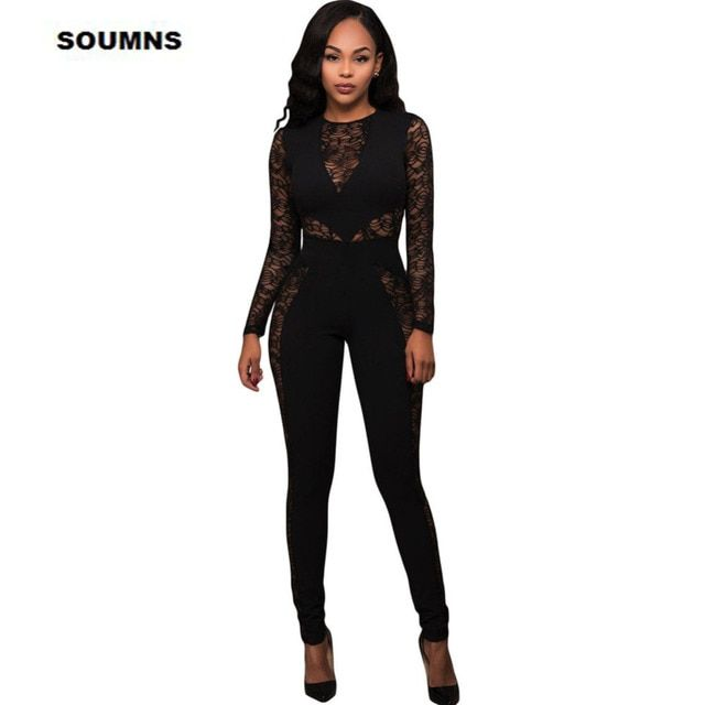Fashion 2017 Autumn Winter Bodycon Overalls Women Catsuit Purlish Red Lace Spice Long Sleeves Jumpsuit Macacao Feminino LC64235