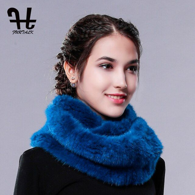 FURTALK Real Mink Fur Scarf Round Towel Infinite Scarf Winter Women Fur Scarf