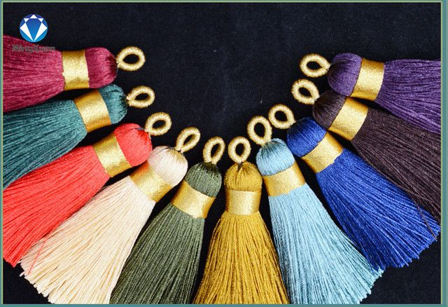 2pcs Gradient Color Silk Tassel Charms Pendant Necklace Earring Findings Tassels for Jewelry DIY Materials borlas de algodon