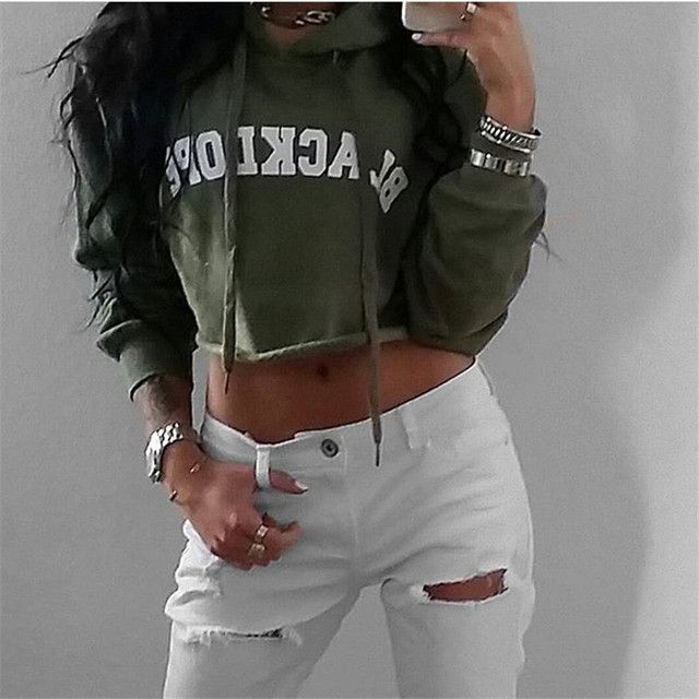 2016 New Women Fashion Casual Loose Hooded Hoodies Long Sleeve Cotton Crop Top Wine Red Army Green Sweatshirt Khaki Tracksuit
