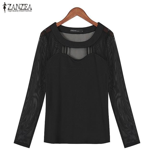 ZANZEA Women 2017 Autumn Sexy Long Sleeve O Neck Solid Blusas Shirts Hollow Out Mesh Patchwork Blouses Tops Plus Size S-5XL