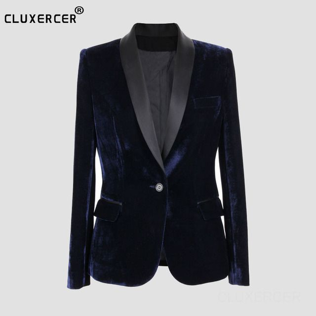 Top Version Blazers Slim Fit Velvet Blazer Women 2017 Spring Vintage Style Single Button Thin Office Suit Coat
