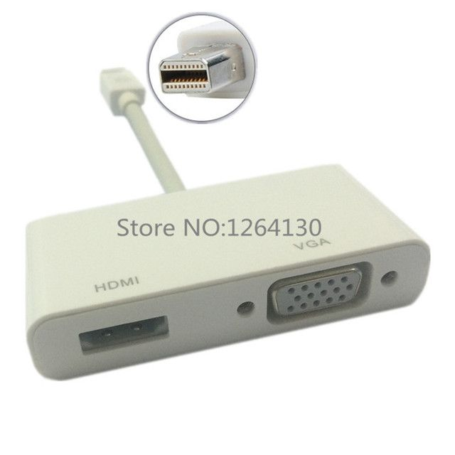 2 In 1 Mini DisplayPort DP Thunderbolt To HDMI VGA Adapter Connector Cable Line Wire For Apple For MacBook Air Pro/Surface pro 3