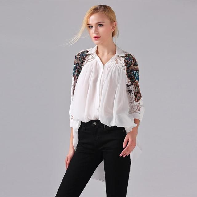European Blouse New 2017 Spring Summer White / Black / Sky Blue Parrot Embroidery Lace Sleeve Beading Elegant Blouse