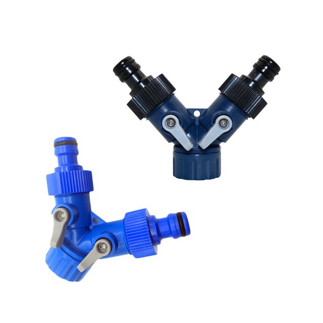 1pcs Y Shunt Adapter Connector And G3 / 4 '' Garden Hose Faucet Switch On / Off Valve Pipe Fittings Garden Agriculture