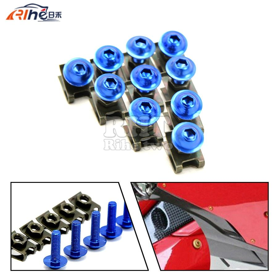 10 pieces 6mm motorcycle fairing body screws For honda yamaha Kawasaki z750 Z800 Z1000 Suzuki Ducati XT660 WR250 WR125