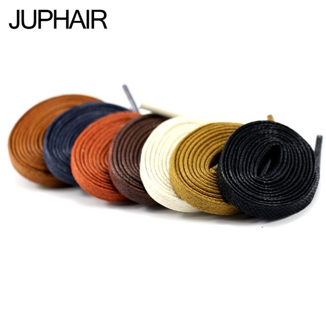 JUP 1 Pair Length 60-180CM Waxed Cotton Flat Shoelaces Leather Shoes Shoestring Leather Boots Shoe Laces Martin Boots Shoelace