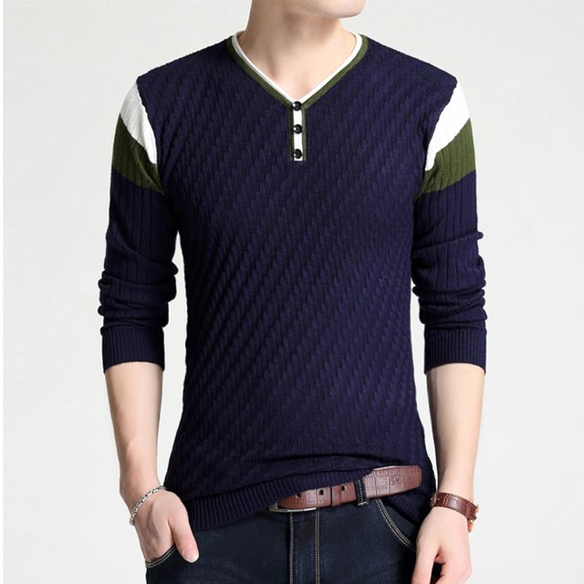 2016 Brand New Autumn and Winter V-Neck Knitted Sweater Men Slim Fit Cotton Wool Mens Pullover Sweaters Plus Size M-4XL