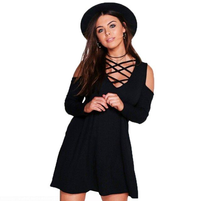 Dress Women Fashion Bust Hollow Out V Neck Long Sleeve Black Party Dress Loose Casual Off The Shouldert Plus Size Dress 6XL