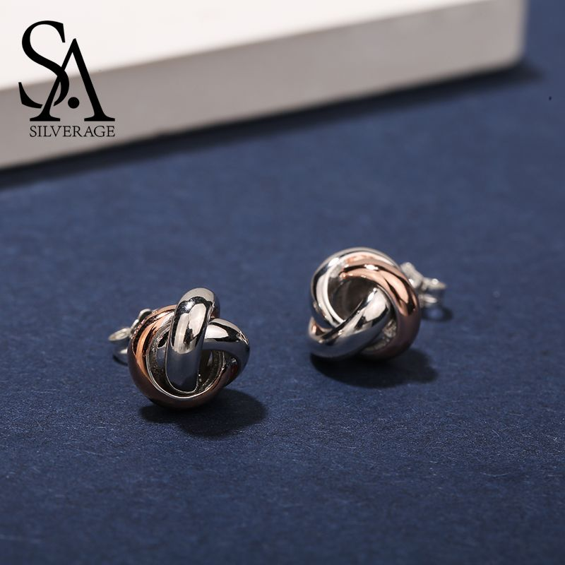 SA SILVERAGE 925 Sterling Silver Trendy Stud Earrings for Women Fine Jewelry Rose Gold Color Silver Earings Broncos Pendientes