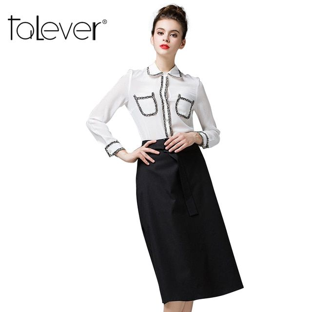 European Style Women Suits 2016 Spring New Arrival Women's Silk Shirt and High Waist Skirt Suits Longqibeauty Women Suits
