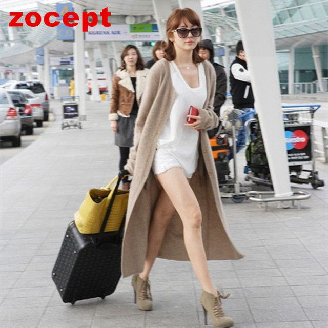 zocept Fashion Women's Clothing Spring Autumn Winter Single Breasted Cashmere Knitted Long Cardigans O-Neck Sweaters Coat Women