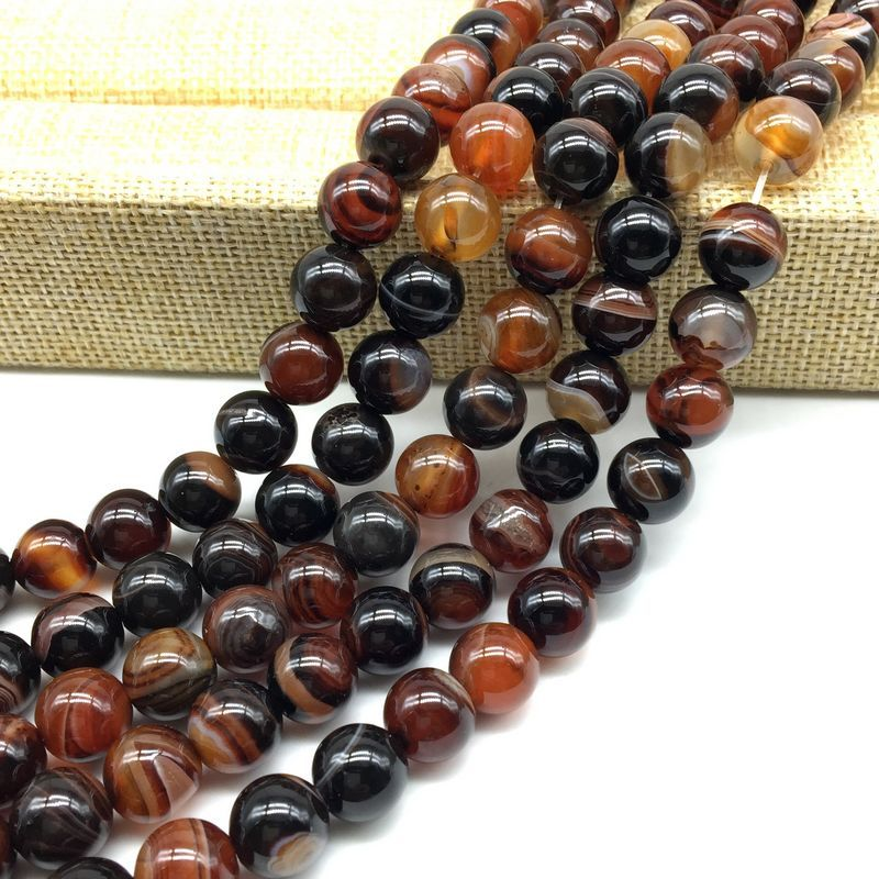 BEADZTALK Natural Stone Beads Dark Brown Miracle Line Agates Round Spacer 6 mm 8 mm 10 mm 12 mm DIY Making Jewelry Supplies