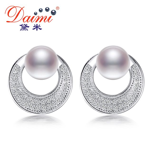 2016 New Fashion 100% Genuine Natural Pearl Earrings Pearl Jewelry With 925 Sterling Silver Earrings For Women