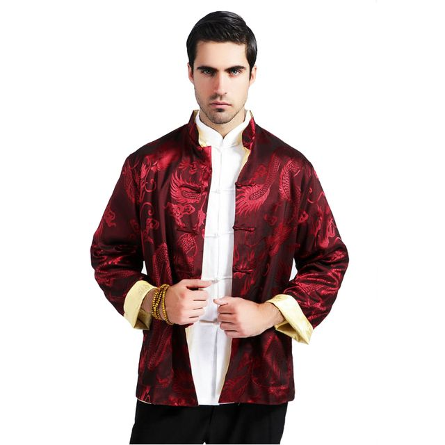 Novelty Red Gold Chinese Men Reversible Coat Silk Satin Jacket Kung Fu Tang Suit Two Sided Overcoat Size M L XL XXL XXXL MS113