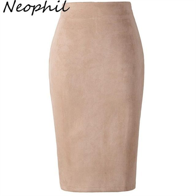 Neophil 2018 Winter Women Suede Midi Pencil Skirt High Waist Gray Pink XXL Sexy Style Stretch Wrap Ladies Office Work Saia S1009