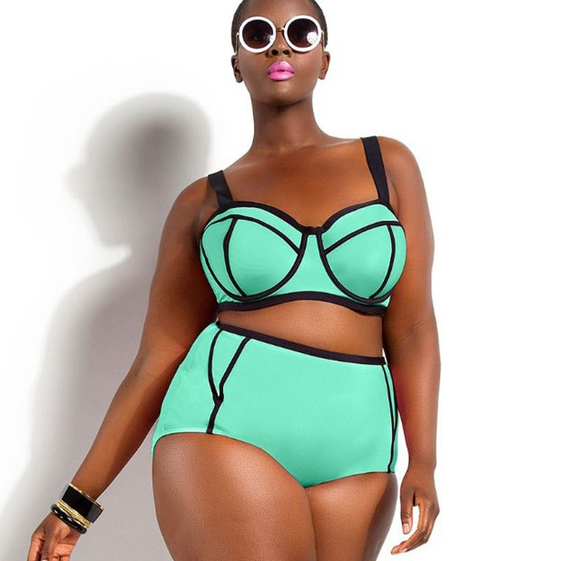 XL-3XL Plus Size Bikini set Underwire Top for Big and Beautiful Womens  Big Size Swimwear up to 4XL high waist bikini Swimsuit