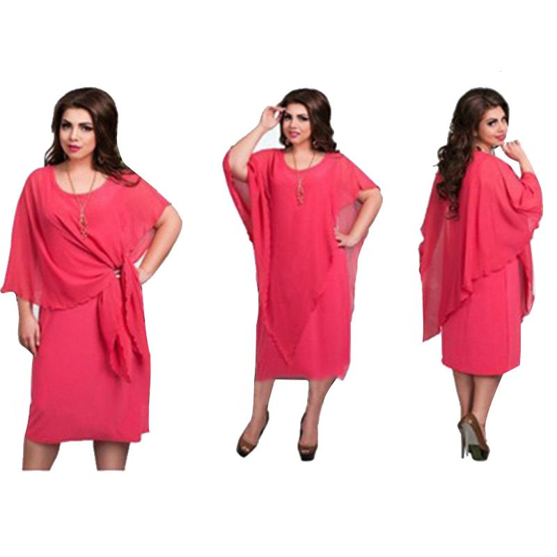 2018 New Designer Women Dress Vestidos 6XL Plus Size Knee Lenght False 2 Pieces Sexy Loose Casual Solid Plus Size Dress Maxi