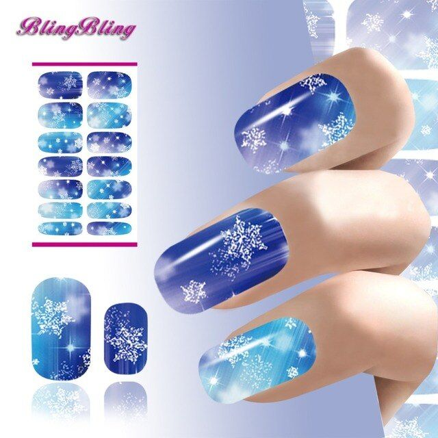 2PCS Snowflake Nail Sticker Xmas Nail Art Christmas Decorations Diamond Pattern New Year Design Nails Wraps Water Transfer Foil