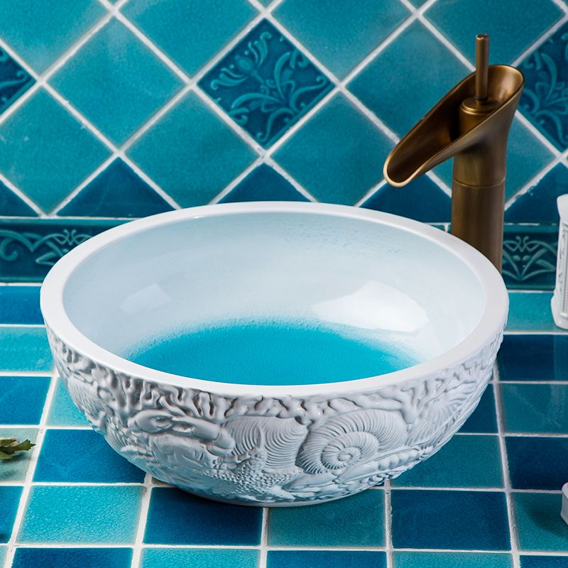 China Artistic Painting Handmade Ceramic washing basin Bathroom wash basin Sink Counter top painted chinese sink