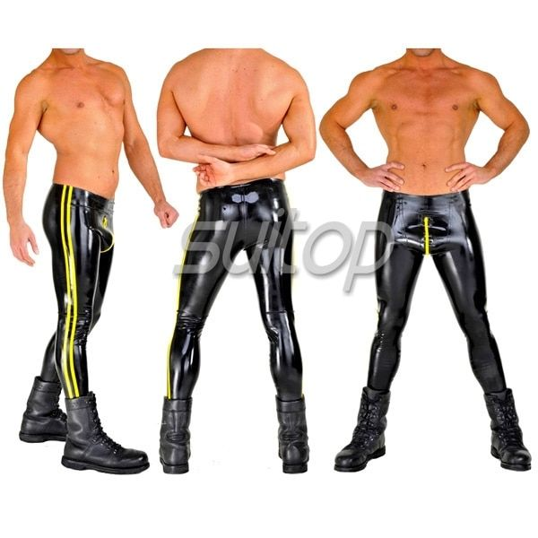 Suitop 0.4mm latex rubber glued leggings with front zip pants trousers
