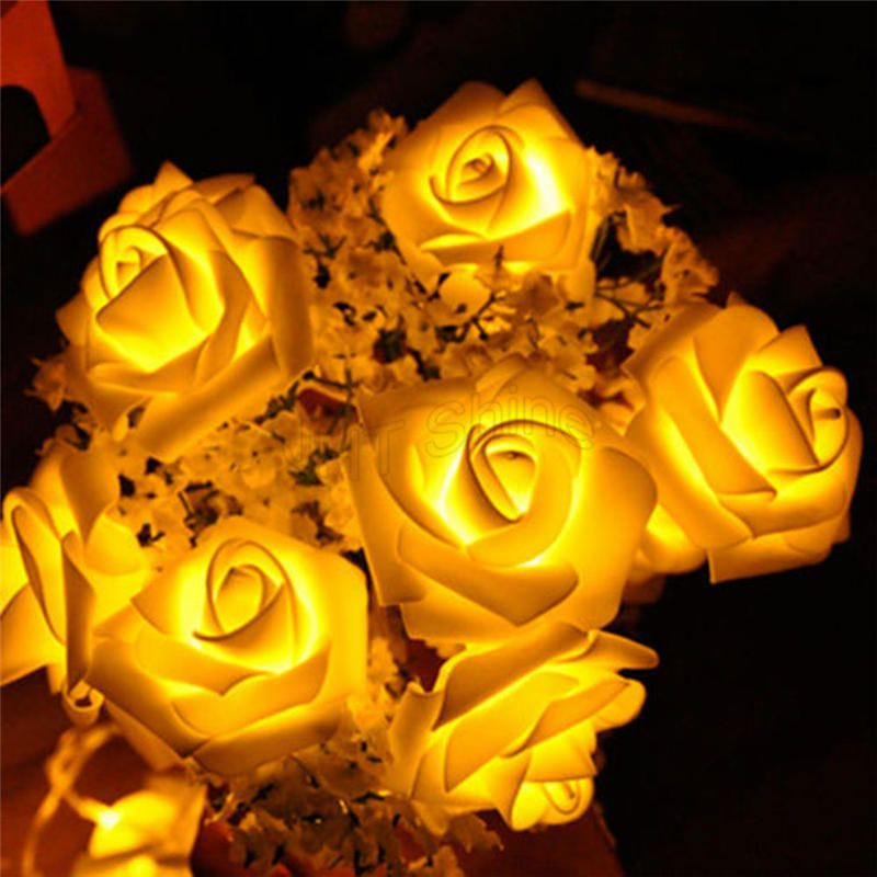 Battery Operated 3m 20 LED Rose Shaped Floral Fairy String Lights Home Garden Party Christmas Garland Halloween Decoration