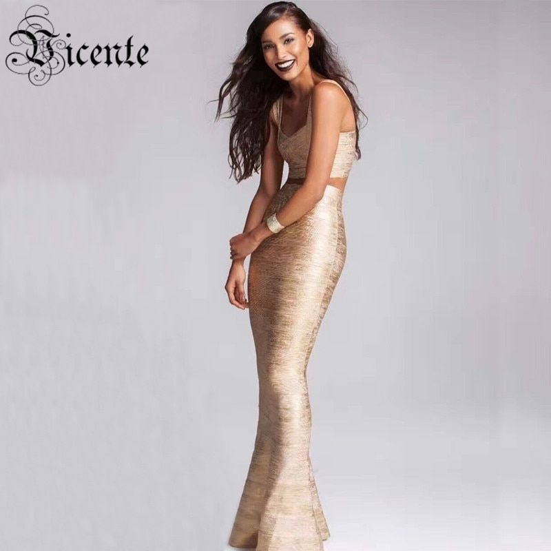 Vicente All Free Shipping 2019 New HOT Luxe Elegant Gold Oil Print Floor-Length Gown Two Pieces Celebrity Party Bandage Dress
