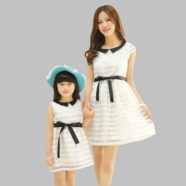 New Arrive Mother Daughter Summer style Dress Mom and Daughter Sleeveless Casual White Dress Parent-child Outfit AF-1585