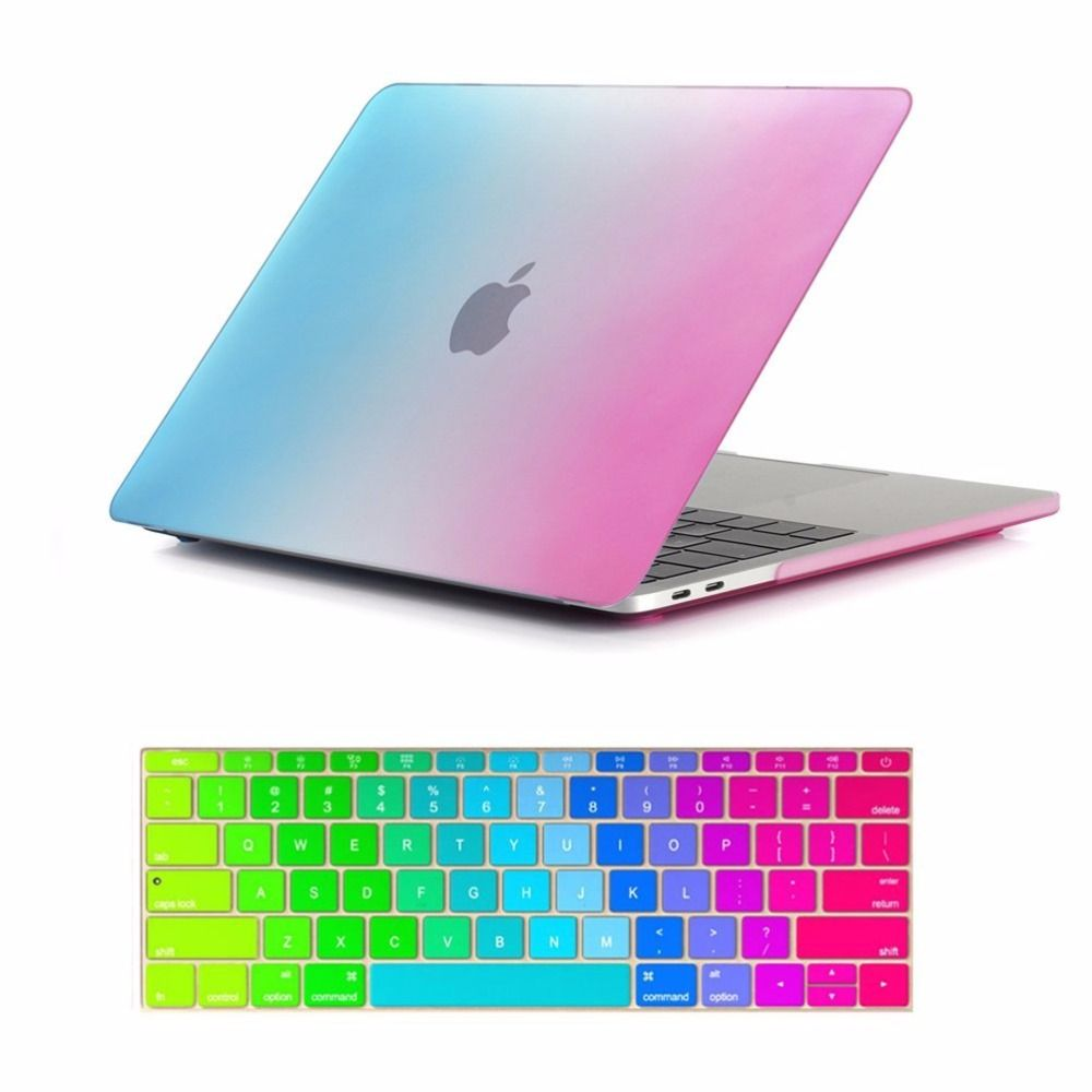 Rainbow Matte Case with Keyboard Cover for MacBook Air Pro Retina 11 12 13 15 inch Laptop Bag Case for New MacBook Pro 15.4 13.3