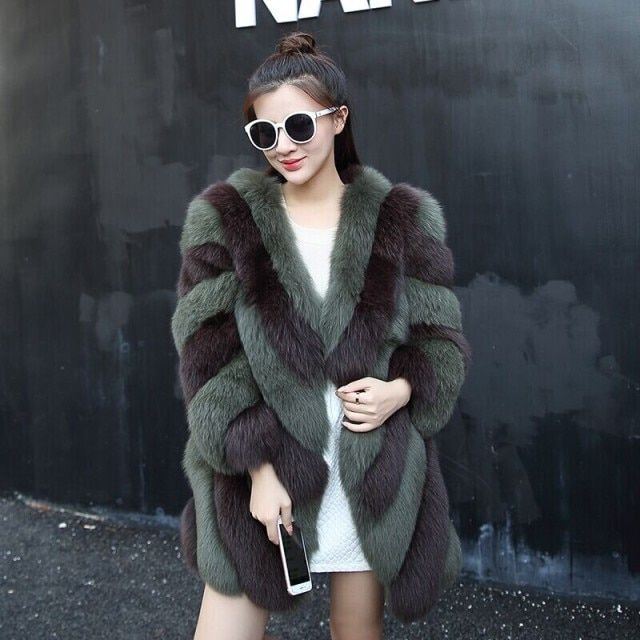 BFFUR  New 2017 fashion Women's Real Fur coat Rich Natural Fox Fur coats Autumn winter Elegant Striped Fur jackets BF-C0165