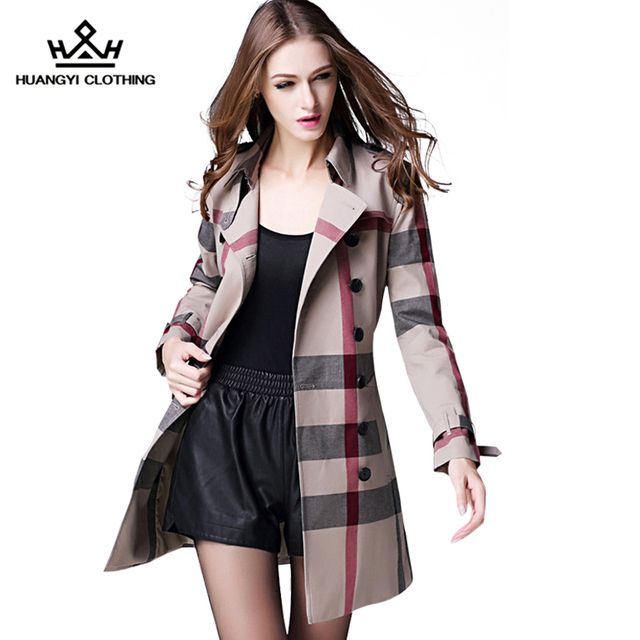 2016 Brand High-end Autumn Winter Women's Double Breasted Turn-down Collar Plaid Slim Trench Coat with Sashes Plus Size