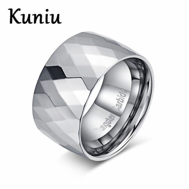 KUNIU 12mm wide Multi-faceted Male Hard Metal Ring High Polished Wedding Engagement Ring for Mens Tungsten carbide rings