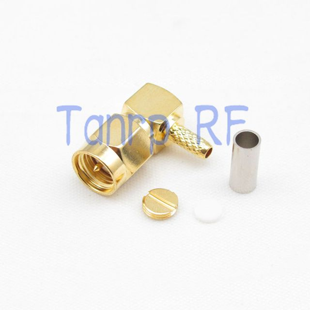 Free shipping! 50pcs/lots SMA male plug right angle RF connector adapter 90 degree crimp for RG174 RG316  RG179  cable wholesale