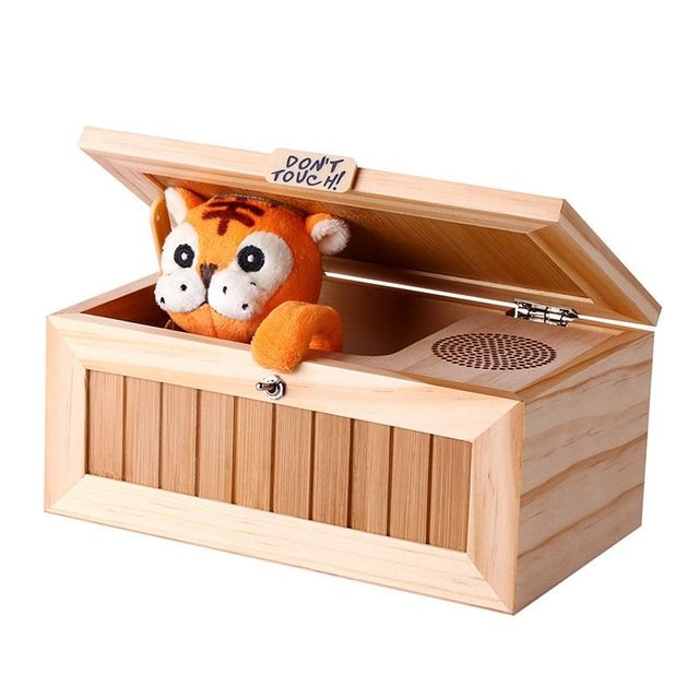 Upgrade Wooden Electronic Useless Box with Sound Cute Tiger 10 Modes Funny Toy Gift Stress-Reduction Desk Decoration