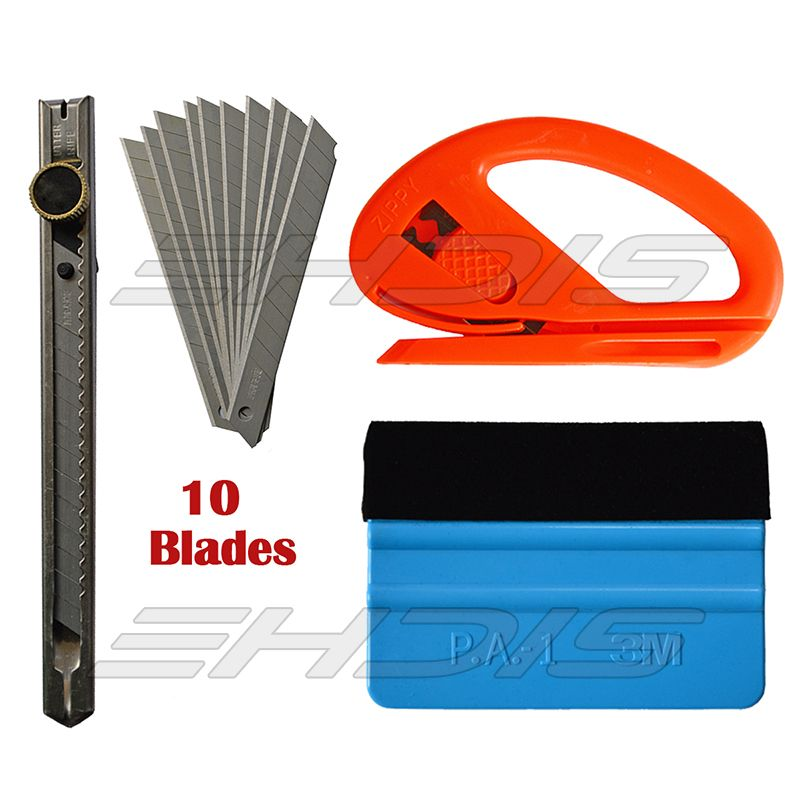 Car Wrapping Tools Set : 1PC 3M Squeegee 1PC Knife 1PC Cutter 10Pcs Blade for 3D Carbon Fiber Vinyl Film Sticker Installation