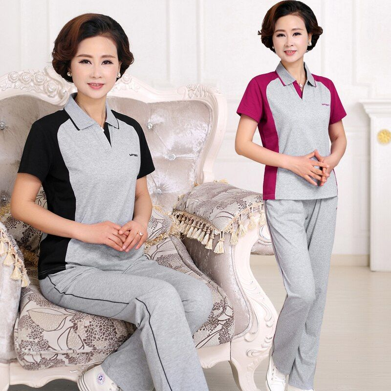 Older women summer sportswear suit middle-aged female short sleeve tracksuit pants set casual suit thin clothes (T-shirt + pant)