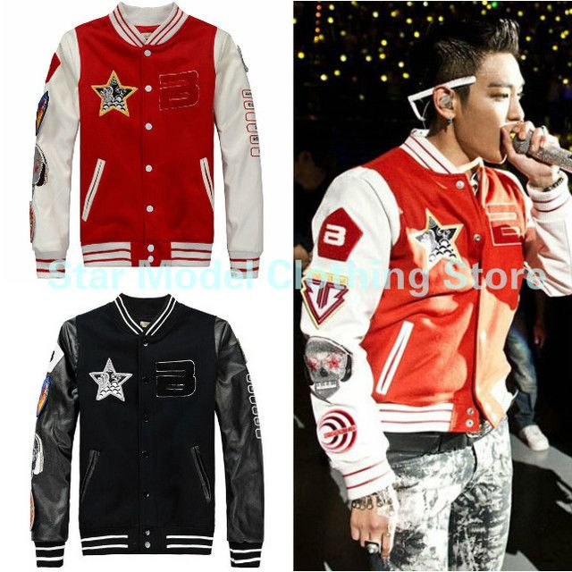 Kpop Bigbang Coat G-dragon Jacket 2015 New Winter Bigbang GD Badge Baseball Uniform Korean Casual Sweatshirt Bigbang Jacket