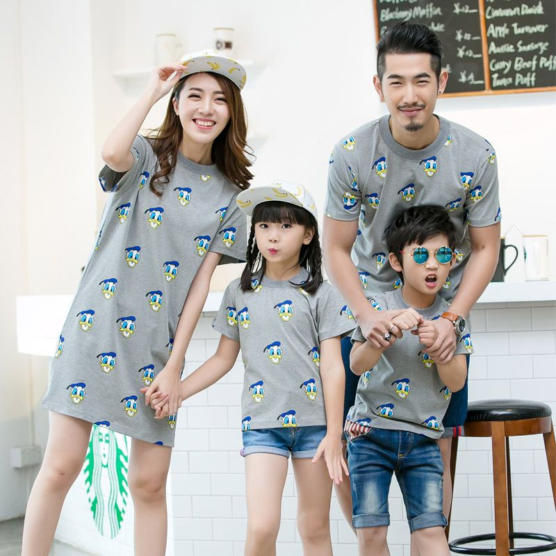 2019 summer mother father baby clothes kids cartoon t-shirts women dress mother son outfits father and son clothes mae e filha